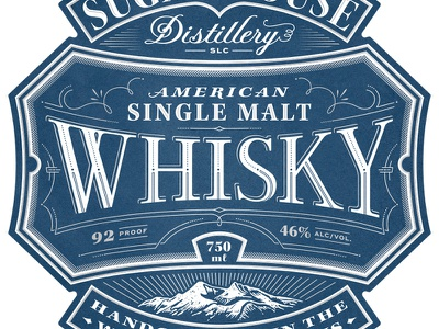 Single Malt whiskey typography illustration packaging label lettering