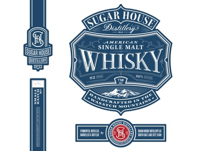 Whisky whiskey typography illustration packaging label lettering