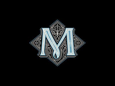M monogram detail dropcap lettering