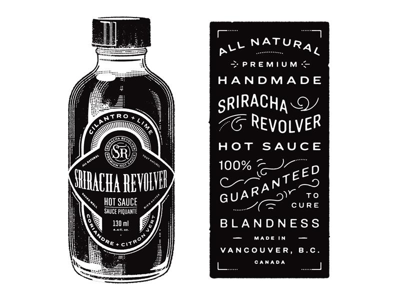 Sriracha Revolver lettering vintage hot sauce branding illustration packaging label