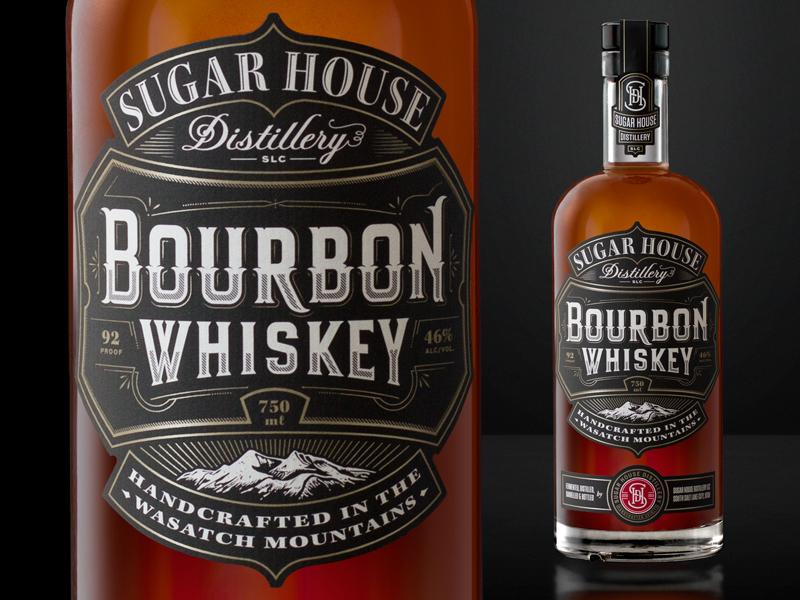 Bourbon whiskey bourbon branding label packaging typography illustration lettering