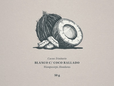Coconut etching engraving linocut illustration packaging typography
