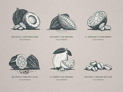 Ingredients etching linocut engraving linework packaging illustration