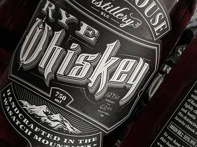 Rye whisky illustration lettering label branding packaging typography