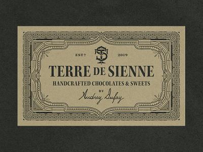 Terre de Sienne typography packaging chocolate branding logo monogram