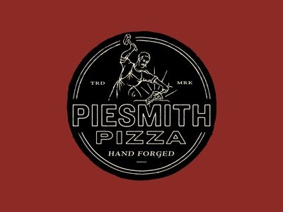 Piesmith Pizza badge logo branding illustration typography