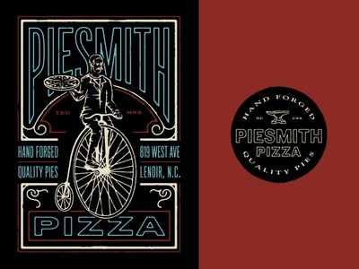 Piesmith Pizza branding illustration lettering typography