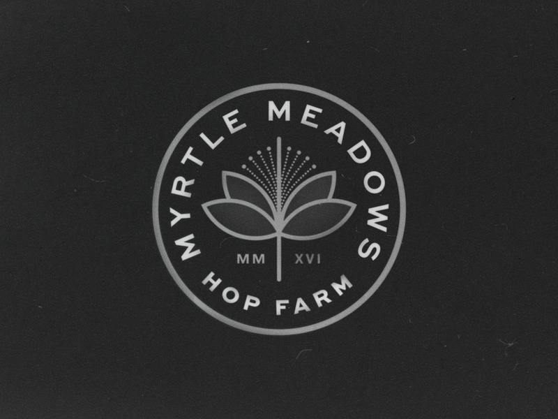 Myrtle Meadows badge logo branding illustration typography