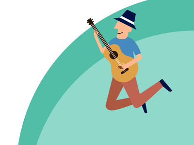 Jumping Man Plays a Guitar