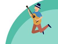 Jumping Man Plays a Guitar