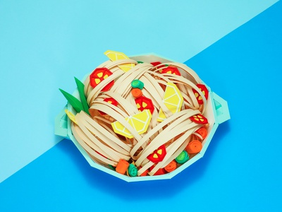 Pasta Paper Food low-poly lowpoly paper craft paper art paper cut papercraft craft pastal paper food