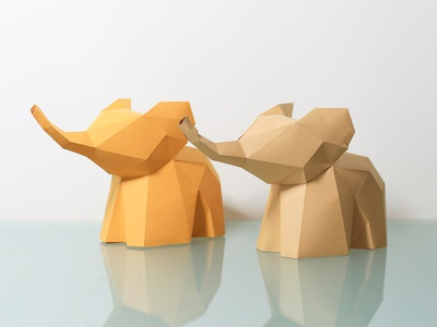 papercraft Low Poly Elephant