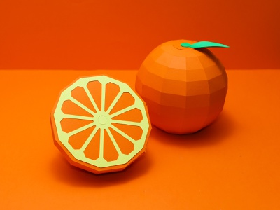 Orange paper craft orange paper orange paper cut paper art low poly paper craft paper food