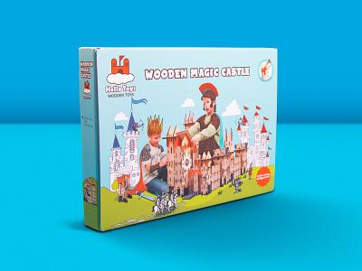 Magic Castle Packaging Design illustrator typography branding vector design illustration toy packaging toy package packaging design