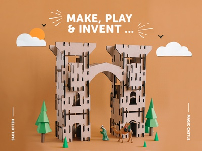 Wooden toy design web design landing page landing wooden toy castle toy design toy ui craft illustration low-poly low poly paper art paper craft