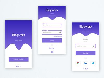 Blogging App Screens