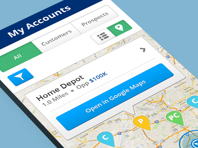 Mobile App app design filter iphone map mobile my account pins tabs toggle ui ux
