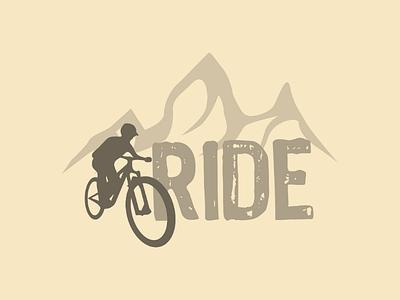 Inktober logo day 28 : Ride illustrator vector downhill mountain bike ride brand logo inktober