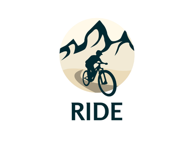 Inktober logo day 28 : Ride second version vector ride mountain logo inktober illustrator downhill brand bike