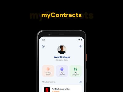 myContracts animation app ux ui flat minimal design