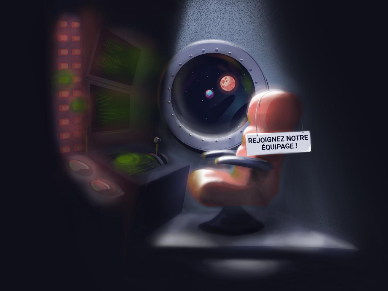 Hiring illustration - French Digital Agency hire hiring lighting painting website web beaver vector spaceship space rocket illustration design castornaute cartoon