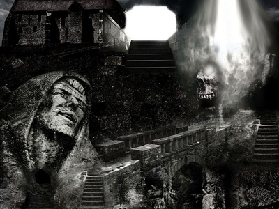 Cursed Dungeon dungeon protagonist cursed dungeon design poster designer posters horror poster horror art poster art skeleton statue poster design photography photo retouch photo manipulation digital art josip markovic boza design