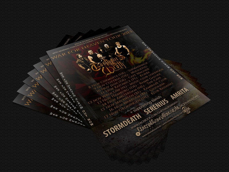 Gorthaur's Wrath's flyer design. print design print photo edit poster design flyer design war for heaven design photo retouch photo manipulation photography josip markovic digital art boza design poster flyer tour flyer tour poster band black metal gorthaurs wrath