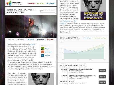 Spotlight Email Design email html email seatgeek music interpol graph open sans newsletter