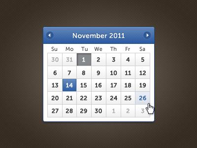 One Fine Date Picker ui calendar museo sans blue date range datepicker