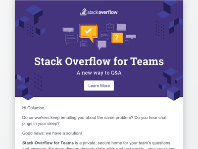 Welcome Email: Stack Overflow for Teams slab roboto hybrid responsive template email