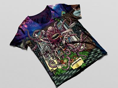 Fridge Monster Tee illustration artwork design digital art apparel mockup monster creepy digital painting digital illustration apparel design graphic artist