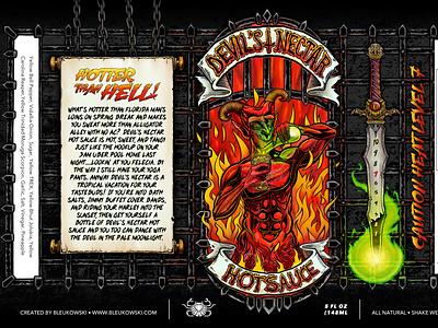 Devil's Nectar hot sauce label procreate digital art draw design art designer illustration hot sauce label design