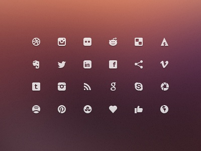 Social Glyphs - Mini Icons web free download icons facebook glyphs ux mini ui design social glyphs freebies minimal website twitter clean pinterest micro icons mini icons social media glyphs