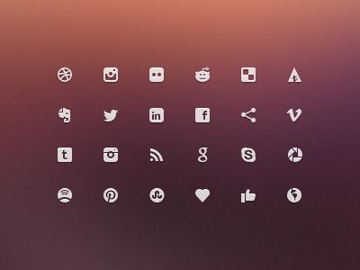 Social Glyphs - Mini Icons web free download icons facebook glyphs ux mini ui design social glyphs freebies minimal website twitter clean pinterest micro icons mini icons social media glyphs
