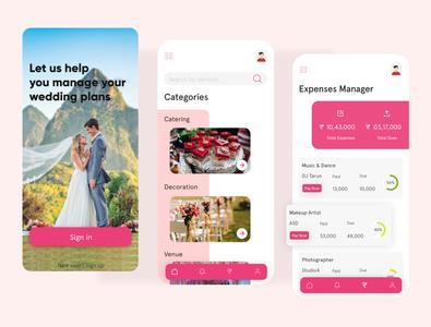 wedding planner categories design mobile ui wedding planer ui ux expense tracker ui design app design wedding app wedding