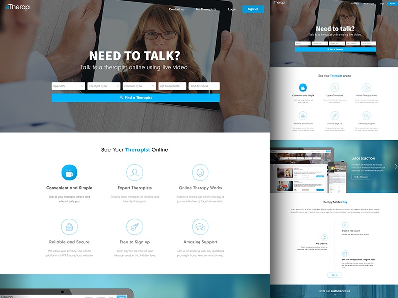 Landing page for eTherapi landing page bootstrap ror startup landing page ui design healthcare ruby health therapy