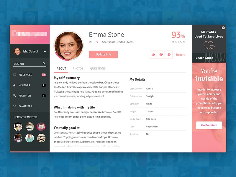 profile page of a dating app by subash dharel dribbble dribbble