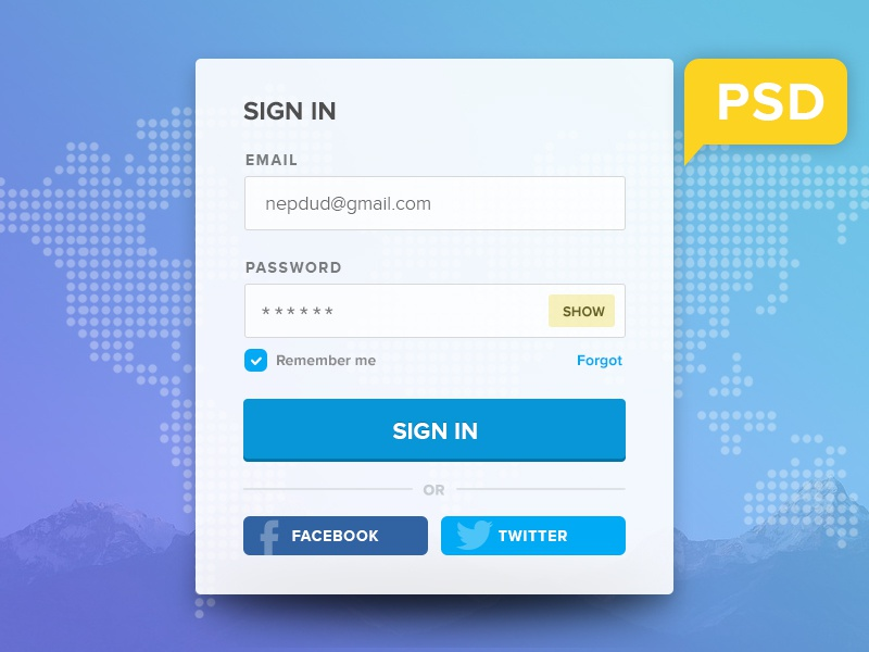 Free PSD Login Form sign up sign in psd freebies login form blue form