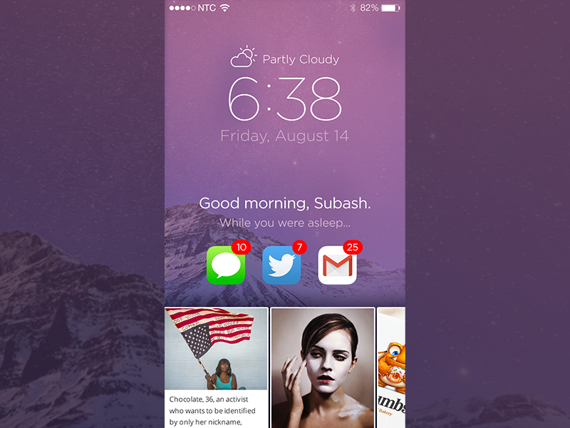 iOS Lock Screen Concept paper news app mobile screen notification weather lock ui ios
