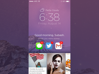 iOS Lock Screen Concept paper news app mobile screen notification weather lock ui ios
