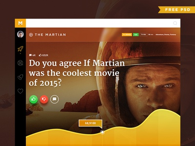Movie Poll Concept Free PSD clean dashboard orange the martian typography graph bootstrap freebies free psd concept movie poll