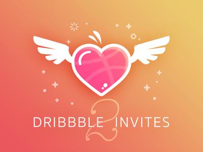2x Dribbble Hearts valentine fev cupid gradient invite angel heart invitation dribbble invites