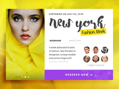 Concept for a Event Card typography fashion card newyork fashion week modern material yellow dashboard ecommerce product card concept event card