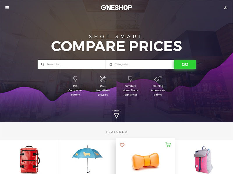 Redesign WIP for an eCommerce site ui clean shadow flat material dark purple graph compare shopping commerce ecommerce