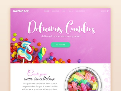 Candy box Landing page invite material green pink design ui chocholates candyshop candy homepage landing page