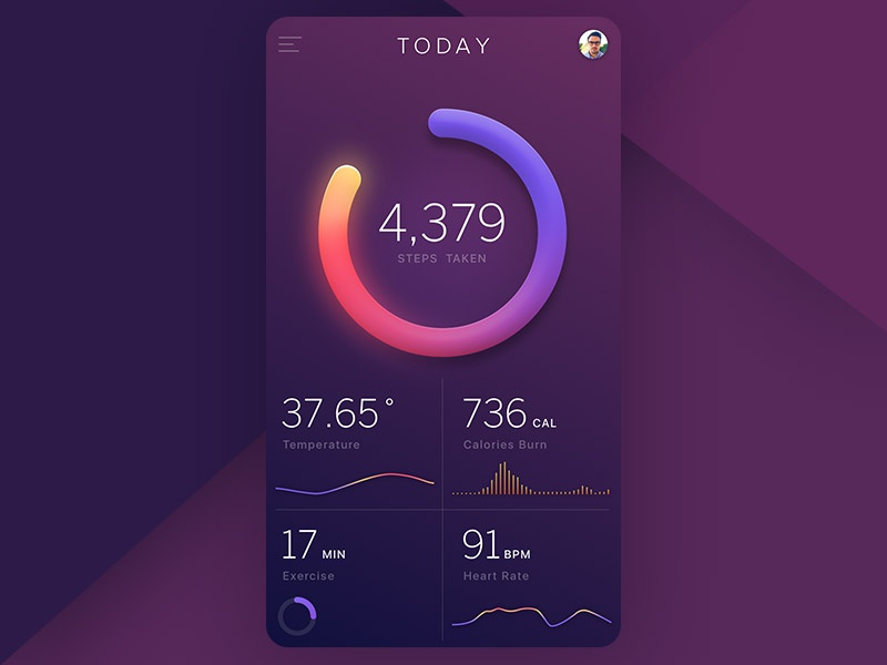 Health Tracking app gradient workout tracking chart mobile ios medical app health graph fitness data