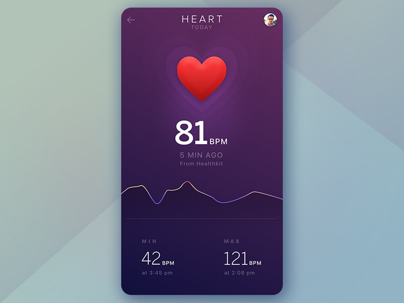Heart Rate Tracking App gradient bpm beat heart workout tracking chart medical app health graph fitness