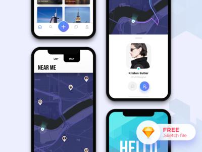 Nomads Dating App UI (Concept) notch ux ui iphonex tinder match nomads dating profile application mobile app