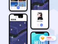 Nomads Dating App UI (Concept) notch ux ui iphonex tinder match nomads dating profile application mobile app