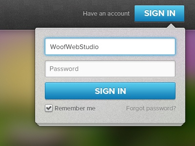 Popover Sign In(FREE PSD) psd free throw free freebies sign in login form vector ui